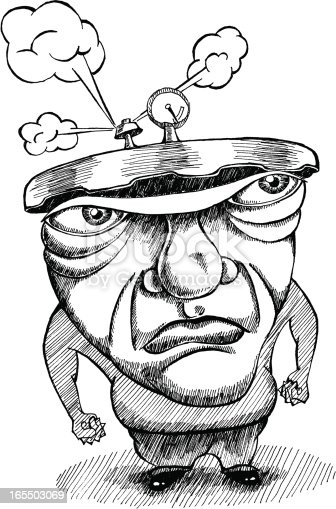 Conceptual hand-drawn illustration of man under pressure. About to blow.