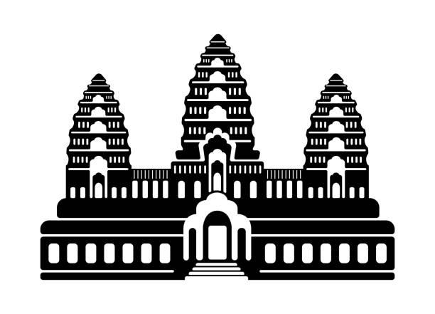 Angkor Wat - Cambodia / World famous buildings monochrome vector illustration. vector art illustration