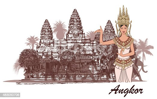 Angkor wat with elephants, palm trees and apsara- vector illustration