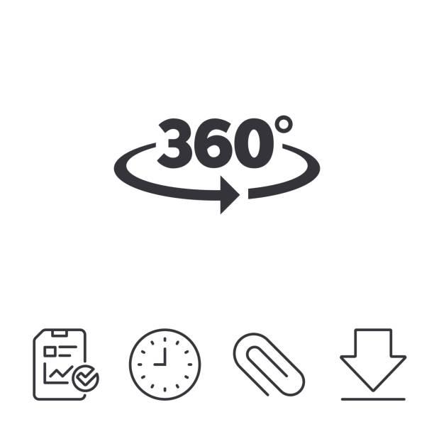 angle 360 degrees sign icon. geometry math symbol. - oś czasu pomoc wizualna stock illustrations