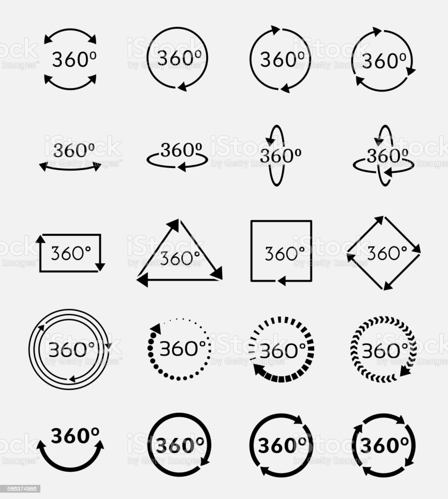 Angle 360 degrees vector icons set