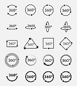 Angle 360 degrees vector icons set. Arrow geometry, measure turn, rotate signs