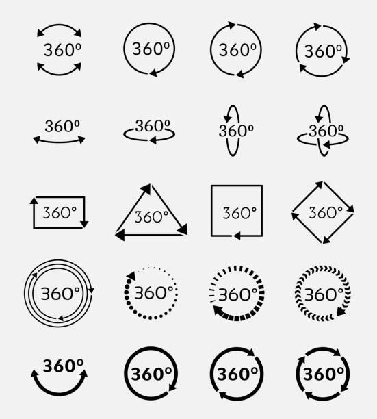 ilustrações de stock, clip art, desenhos animados e ícones de angle 360 degrees vector icons set - inteiro