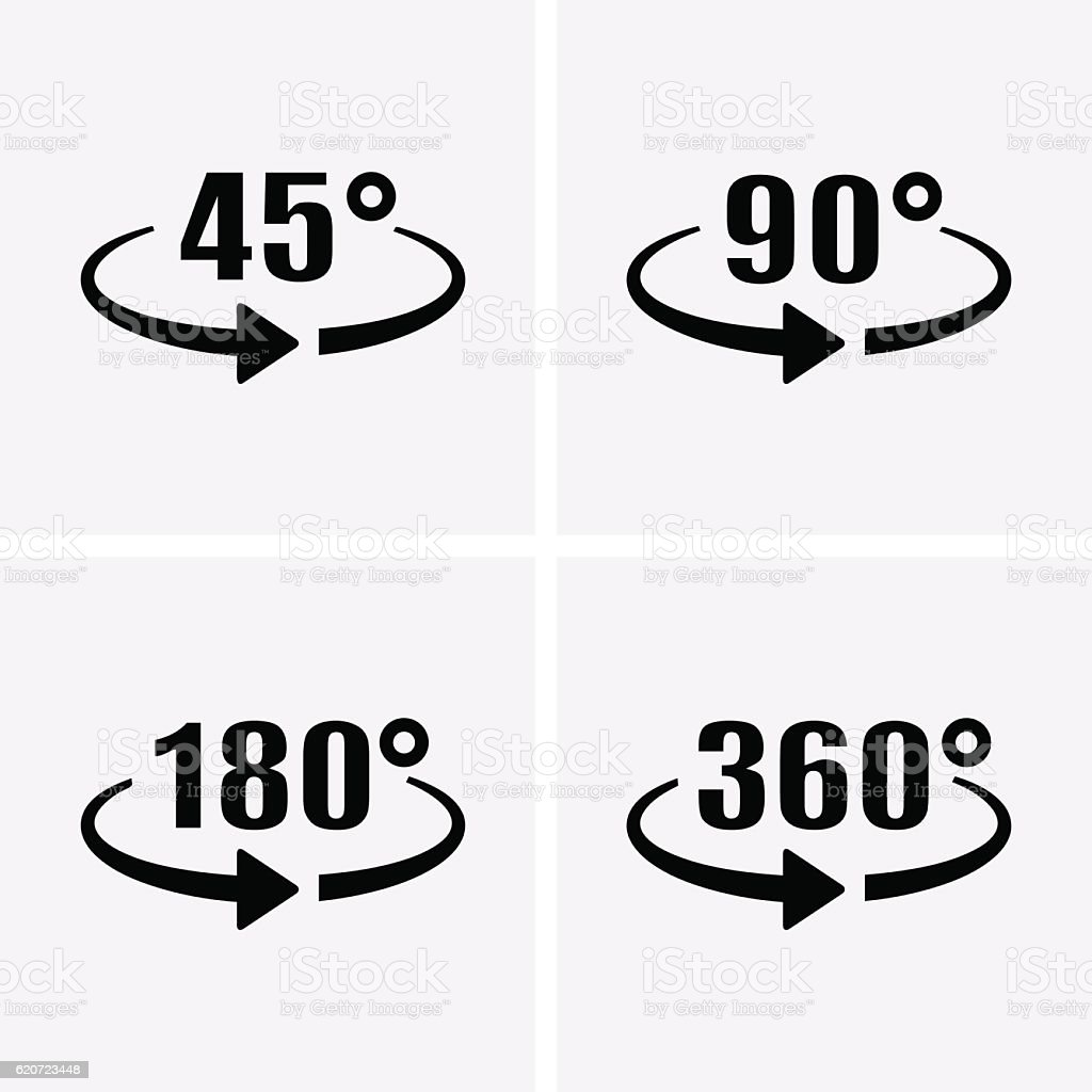 Angle 45, 90, 180, 360 Degrees View Icons. Rotation arrow.