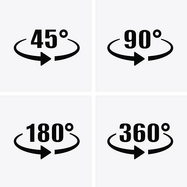 Angle 45, 90, 180, 360 Degrees View Icons. Rotation arrow. – Vektorgrafik
