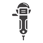 Angle grinder glyph icon, build and repair, cutter sign vector graphics, a solid pattern on a white background, eps 10.