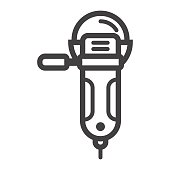 Angle grinder line icon, build and repair, cutter sign vector graphics, a linear pattern on a white background, eps 10.
