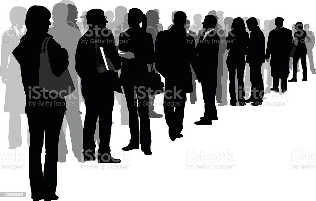 Angled Crowd Of Silhouette People vector art illustration