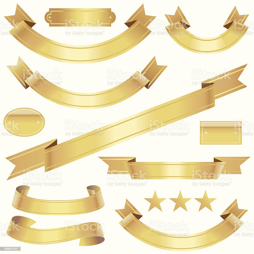 Angled Gold Ribbons royalty-free angled gold ribbons stock vector art & more images of achievement