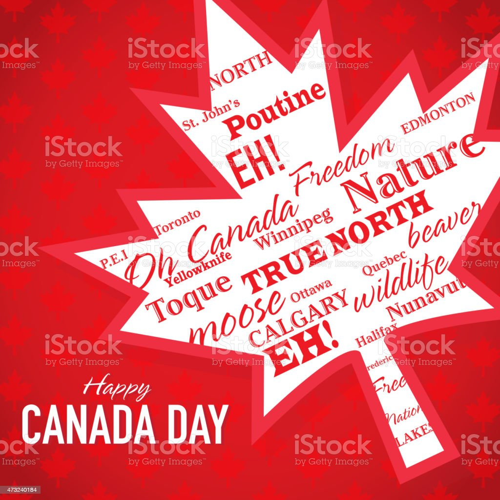 Angled Leaf Happy Canada Day Celebration Greeting Card Design