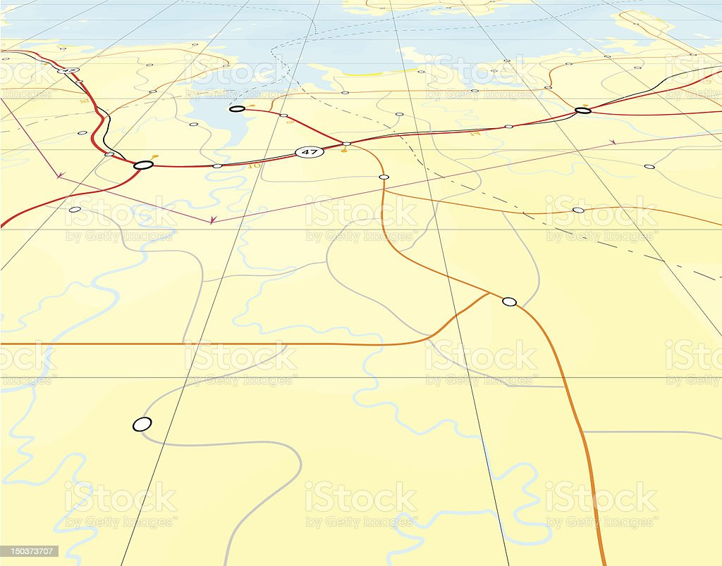 Angled map vector art illustration