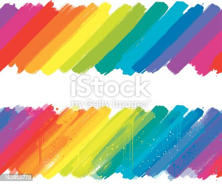 Two angled rainbow paint brush strokes on a white background, one has a grunge effect.  EPS 10 file using transparencies.
