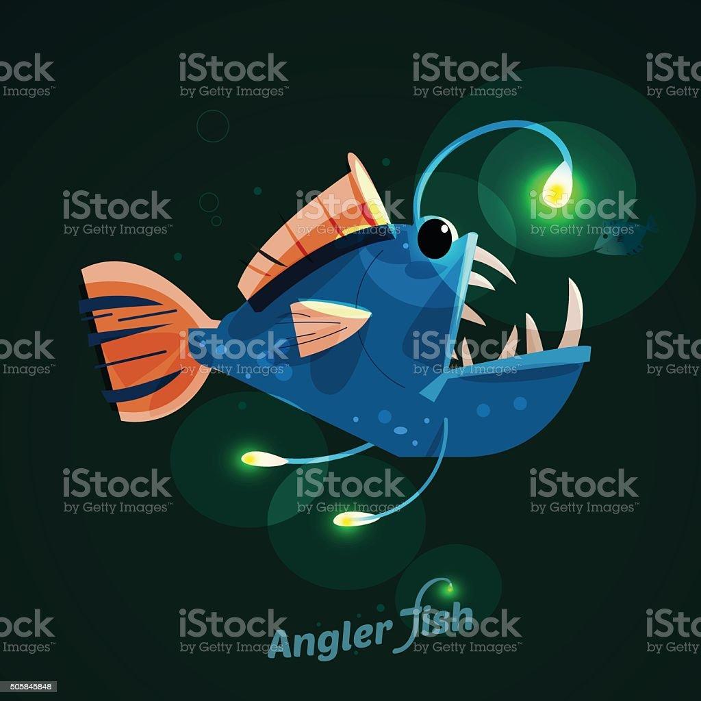 angler fish. character design - vector vector art illustration