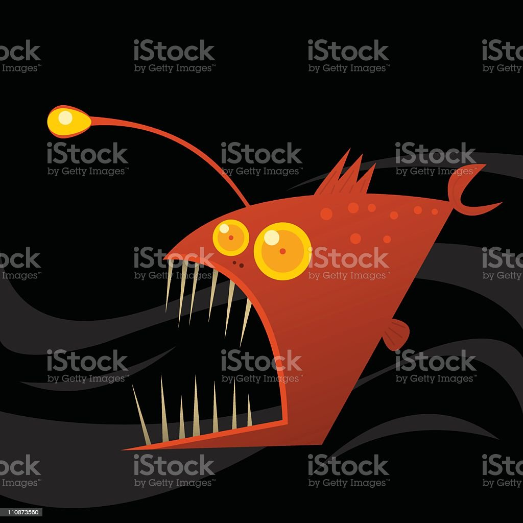 Angler Fish Clipart. Awesome Cartoon Character Fish Isolated On ...