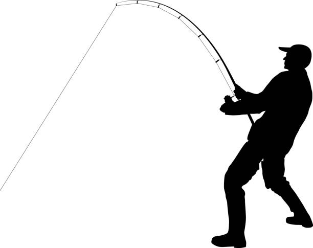 angler angler with fishing rod silhouette freshwater fishing stock illustrations