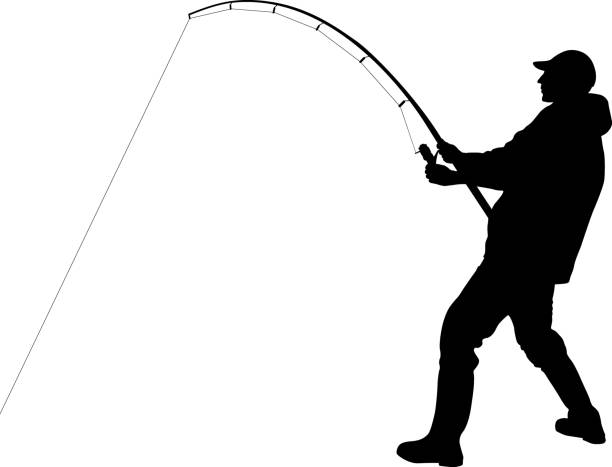 angler silhouette of angler with fishing rod freshwater fishing stock illustrations