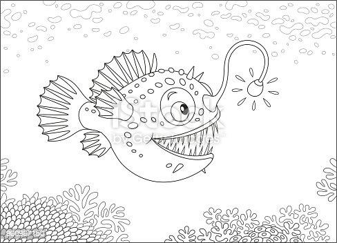 Fener Balığı Derin Bir Denizde Av Stok Vektör Sanatı Animasyon