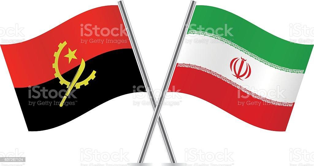 Angola and Iran flags. Vector. - ilustração de arte em vetor