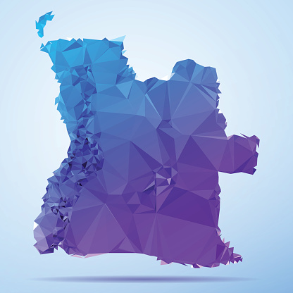 Angola Cabinda Polygon Triangle Map Blue