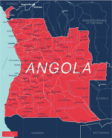 Angola country detailed editable map