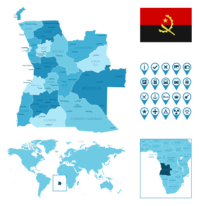 Angola detailed administrative blue map with country flag and location on the world map.