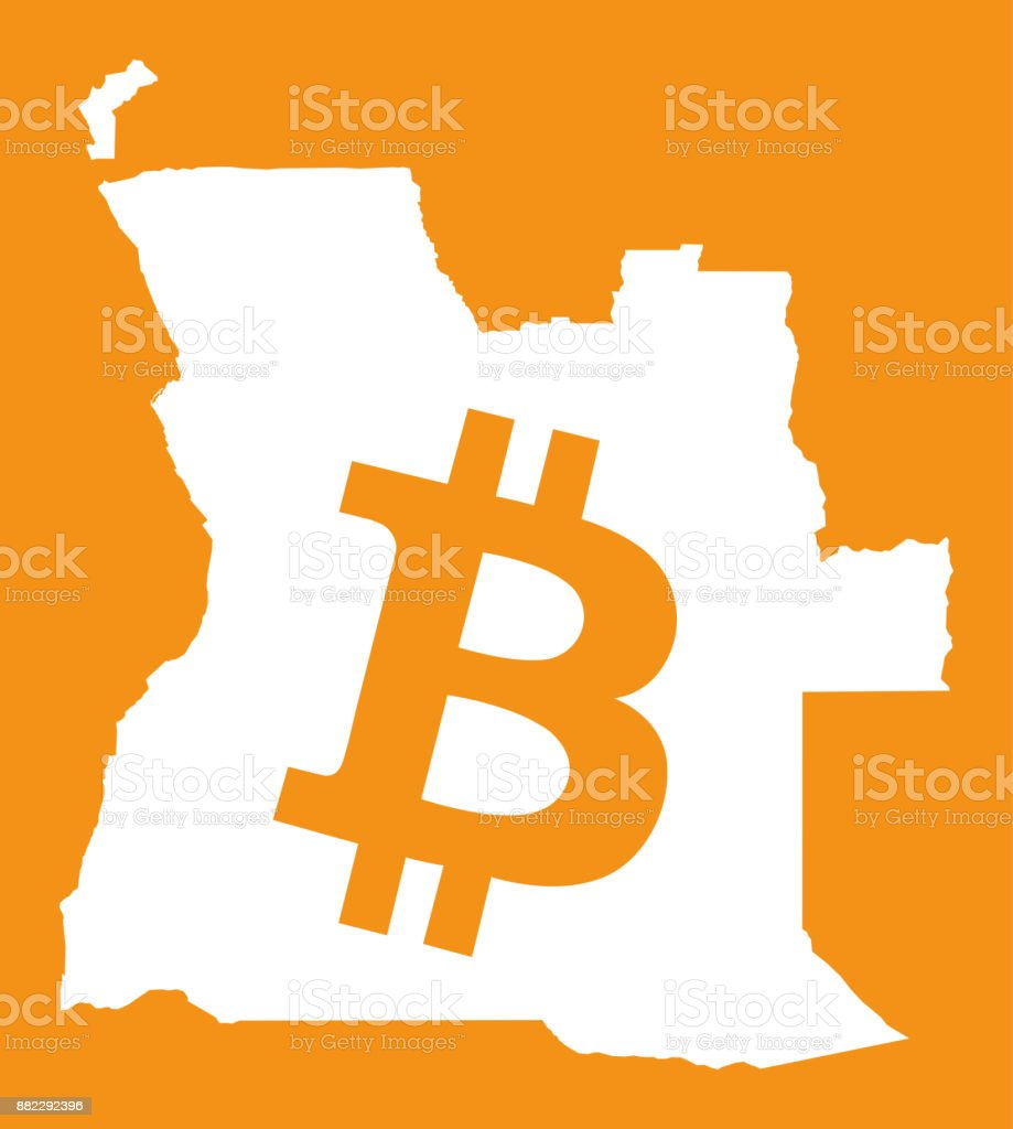 Angola Map With Bitcoin Crypto Currency Symbol Illustration Stock