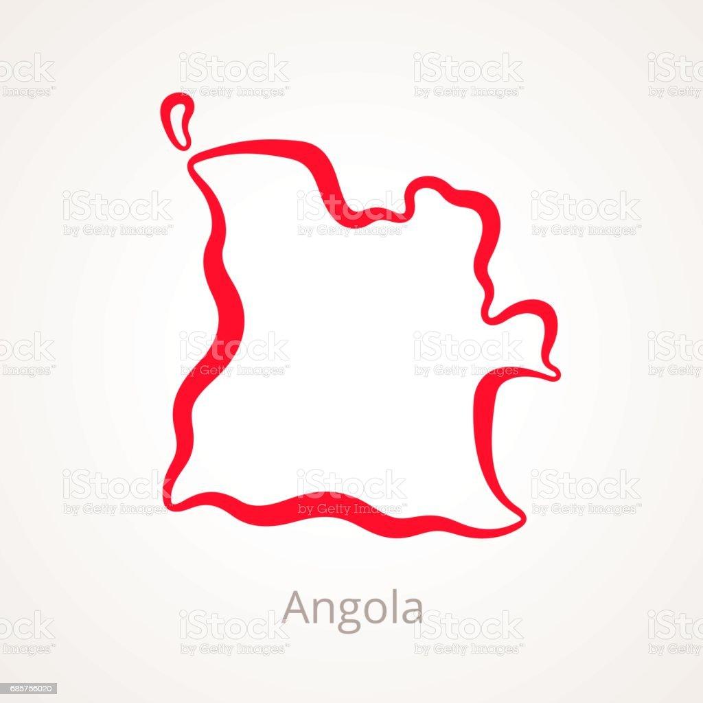 Angola - Outline Map angola outline map - stockowe grafiki wektorowe i więcej obrazów angola royalty-free