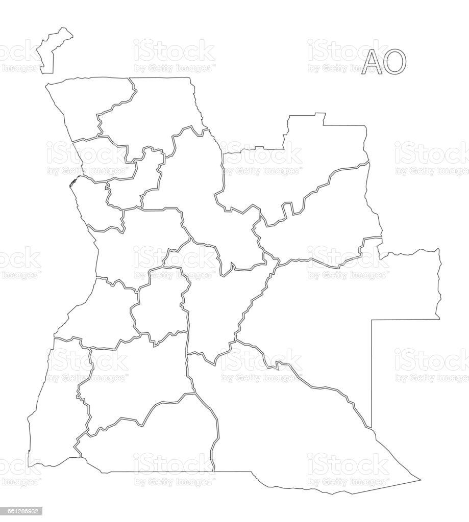 Angola Outline Silhouette Map Illustration With Provinces Stock - Angola provinces map