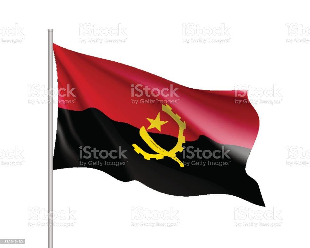 Realistische Flagge Angola – Vektorgrafik