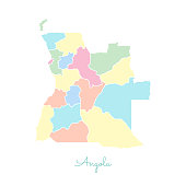 Angola region map: colorful with white outline.
