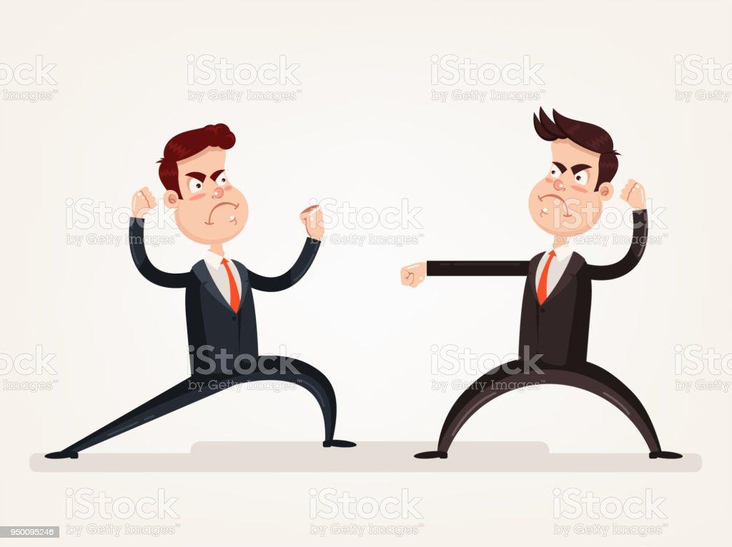 Ilustración de Enojado Agresivo Empresario Enemigo Jefe Oficina ...
