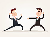 Angry aggressive businessman office worker character quarreling discussion and fight. Teamwork colleague conflict problem relationship concept