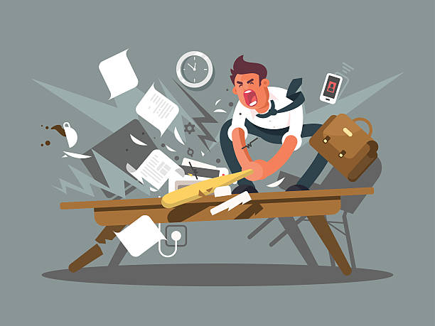 Angry and exasperated employee Angry and exasperated employee. Office worker smashing a table bat. Vector illustration overworked stock illustrations
