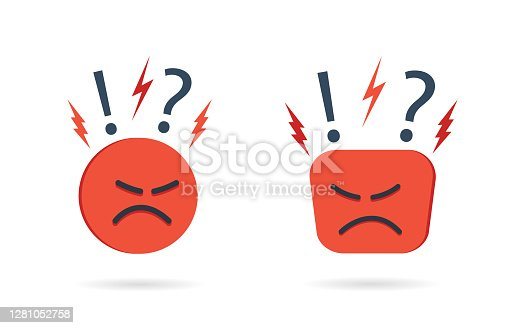 Angry and hate icon. Difficult, bad customer. Negative opinion and experience from client. Unhappy mood on face. Concern, furious and pessimism. Feedback from user. Emoji reaction concept. Vector.