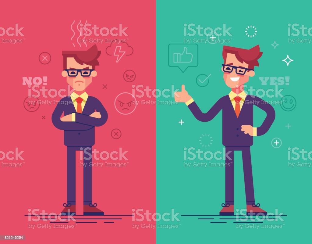 Hommes d'affaires en colère et positives. Personnages de vecteur drôle avec des icônes d'humeur sur fond. - clipart vectoriel de Accord - Concepts libre de droits