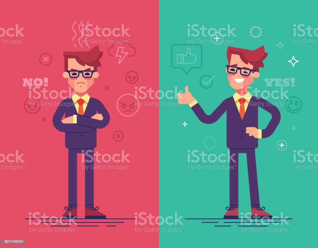 Angry and positive businessmen. Funny vector characters with mood icons on background. vector art illustration