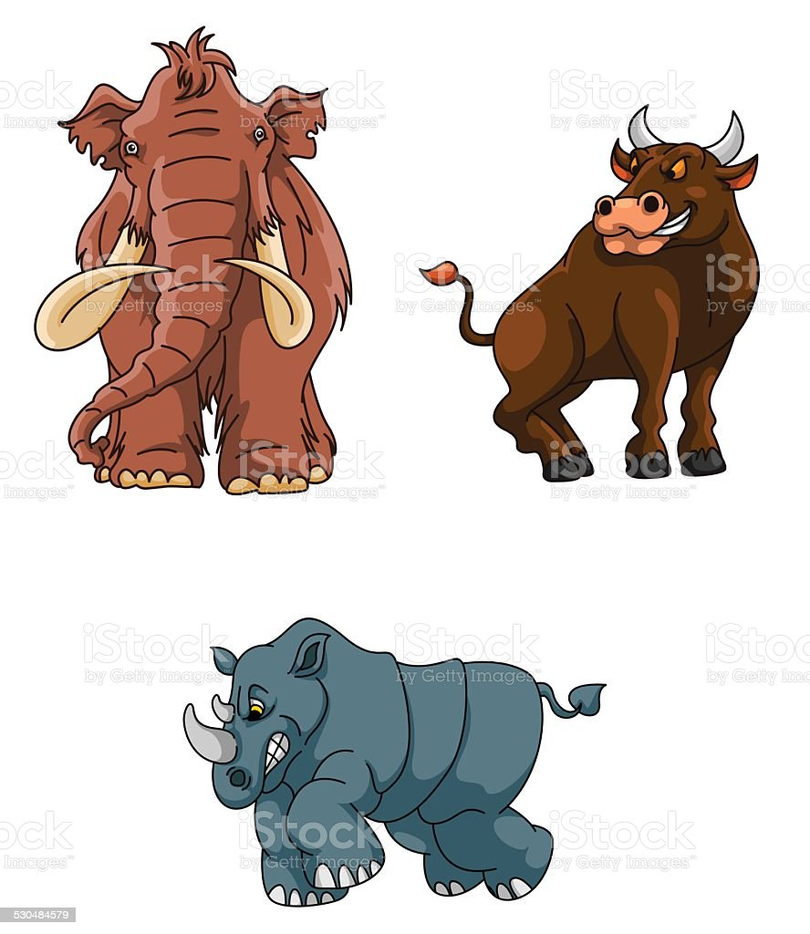 Angry Animals Group : Mammoth, Rhino and Bull vector art illustration