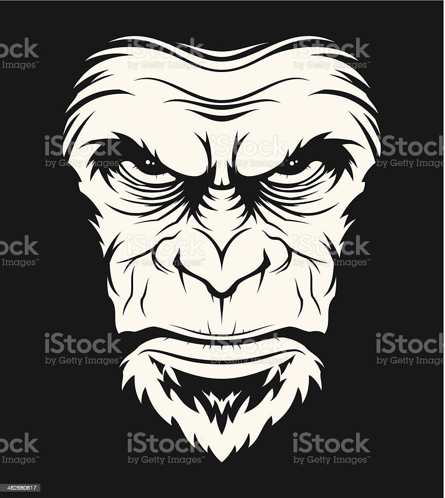 Angry ape head vector art illustration