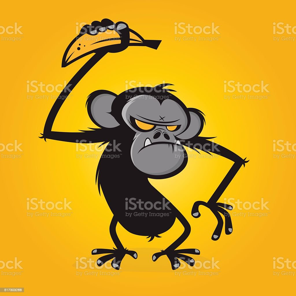 angry ape with banana vector art illustration