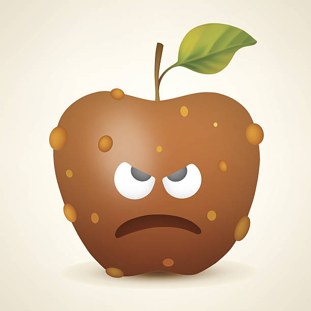 angry apple - rotten apple stock illustrations, clip art, cartoons, & icons