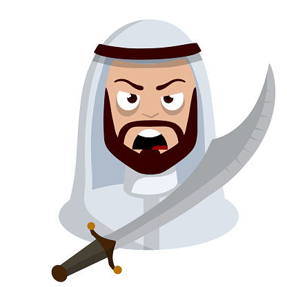 Angry Arab with sword. Middle Eastern medieval warrior.
