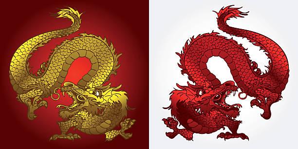 Bекторная иллюстрация Злая азиатских дракон золотой и красный