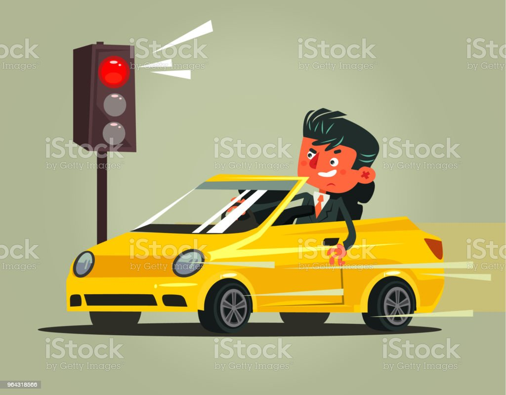 Angry bad rushing driver auto car man character braking violation low rules and riding on red traffic light. Transportation automobile driving problems accident flat cartoon illustration graphic design concept vector art illustration