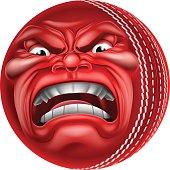 Angry Ball Cricket Sports Cartoon Mascot