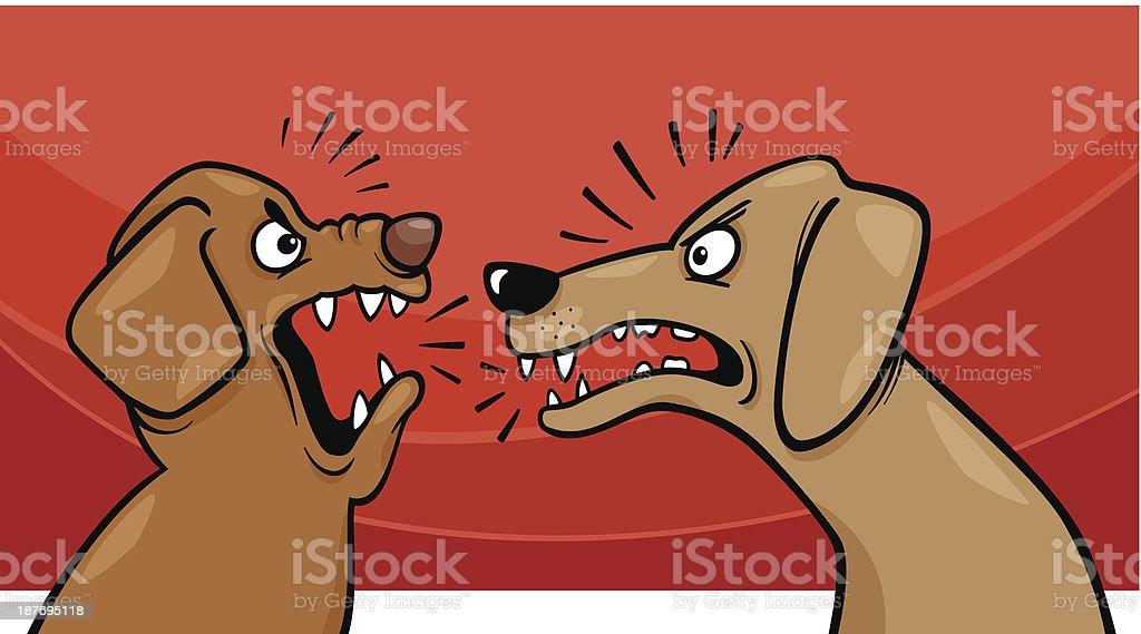 angry barking dogs cartoon illustration vector art illustration