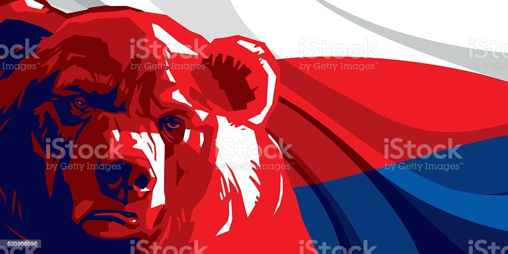 Angry bear against and Russian flag vector art illustration