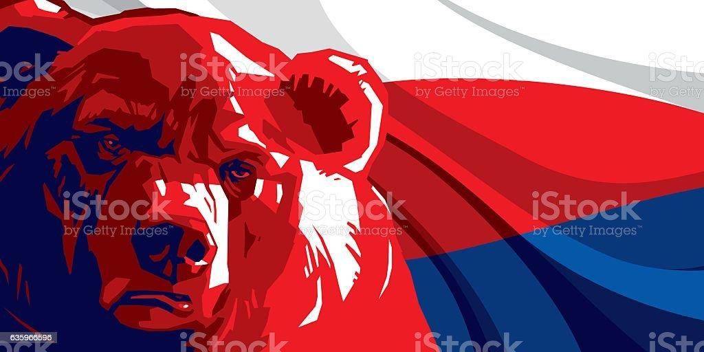 Angry bear against and Russian flag – Vektorgrafik