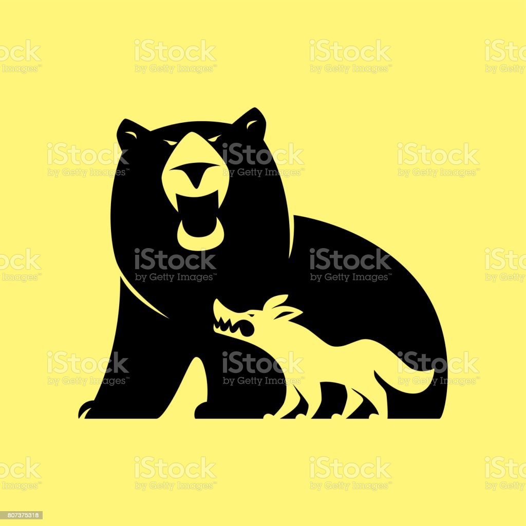 angry bear and wolf symbol vector art illustration
