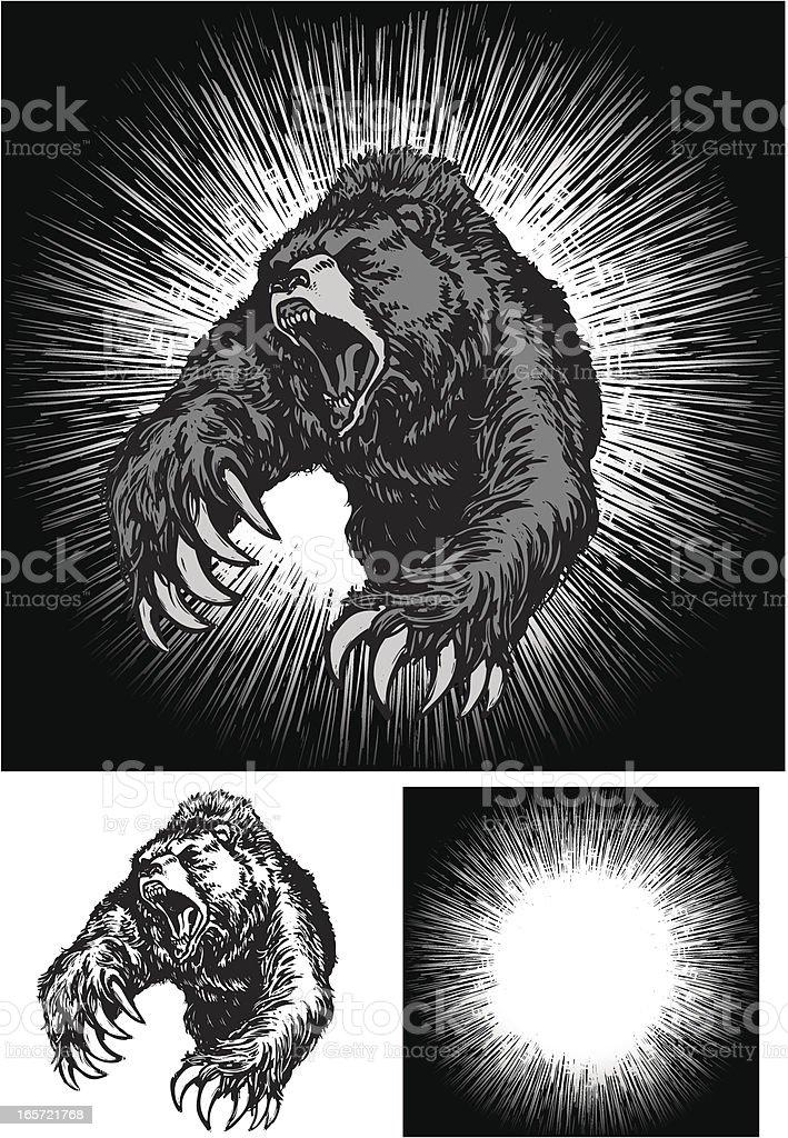Angry Bear Attack royalty-free stock vector art