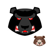 Angry bear head logo. Aggressive Grizzly on white background. Wi